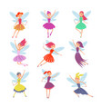 flying fairy girls with angle wings vector image