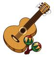 guitar maracas color of a summer theme vector image