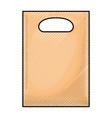 paper bag with handle in colored crayon silhouette vector image
