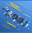 wearable technology isometric composition vector image