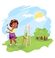 African american girl painting outdoors vector image