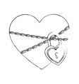 heart with padlock vector image