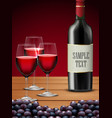 three glasses red wine with bottle of champagne vector image