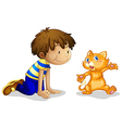 A young boy and his adorable kitten vector image