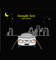 drive the car cartoon in the night city vector image