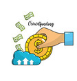 hand with coin and bills cash money vector image