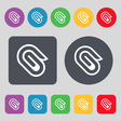 paper clip icon sign A set of 12 colored buttons vector image