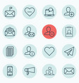 Set of 16 social network icons includes bullhorn vector image