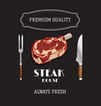 steak and grill house template menu poster vector image
