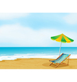 A relaxing beach with an umbrella and a foldable vector image