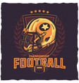 American football t-shirt label design vector image