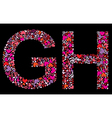 letter g h valentine alphabet vector image
