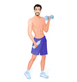 Guy is engaged in wirkout with dumbbells vector image