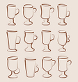 Sketch set coffee and latte cups design elements vector image