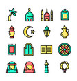 thin line islam icons set vector image
