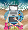 woman working at the laptop at beach remote work vector image