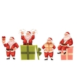 Santa Claus holding popping out of and sitting on vector image