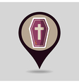 Halloween Coffin mapping pin icon vector image