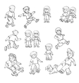 set of children playing in the street vector image