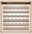 calligraphic border set horizontal vector image vector image