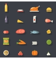 Food Icons Set Meat Fish Vegetables Drinks for vector image