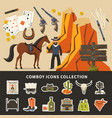 cowboy icons collection vector image