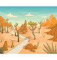 desert landscape with road cactuses mountains vector image