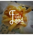 Fast food logo typography lettering on blurred vector image
