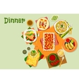 Mexican cuisine dinner dishes icon for menu design vector image