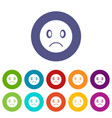 sad emoticon set icons vector image