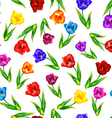 Tulip floral background seamless pattern vector image