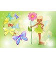 A fairy holding a pink flower with butterflies vector image