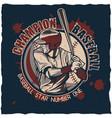 baseball t-shirt label design vector image