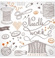 needlework set vector image