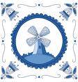 Delft Blue mill vector image