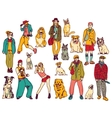 Pets and owners group isolate on white color vector image