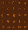 Camping necessary brown line icons vector image