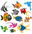 cartoon fish set vector image