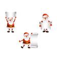 cartoon santa keeping blank paper in hands vector image