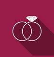 wedding rings icon isolated with long shadow vector image