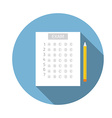 Test answer sheet icon vector image