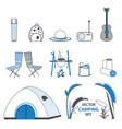 sketch camping elements set vector image