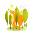 kids fox in wild trees vector image