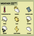 weather color outline isometric icons vector image