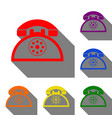 retro telephone sign set of red orange yellow vector image