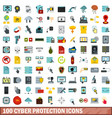 100 cyber protection icons set flat style vector image