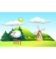 A sheep jumping at the fence with a windmill at vector image vector image