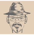 Young man in hat and glasses vector image