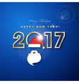 2017 Merry Christmas and Happy New Year with Santa vector image