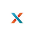Logo blue and orange X letter mockup design vector image